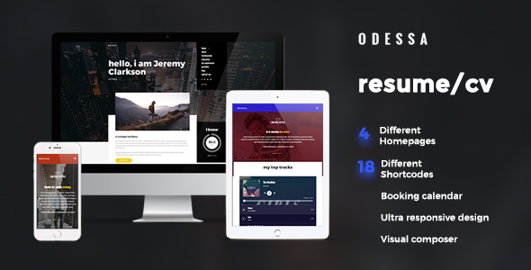 Download Odessa - Personal Resume, CV, VCard WordPress Theme