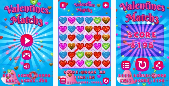 Valentines Match3 – HTML5 Game + Android + AdMob (Capx) (Games)