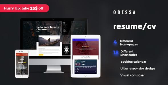 Download Odessa - Personal Resume, CV, VCard WordPress Theme
