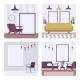 Set of Retro Interiors, Frames for Copyspace and