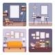 Set of Retro Interiors, Frames for Copyspace