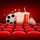 Cinema Background With A Film Reel Popcorn And Drink Vector