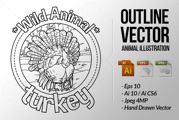 Animal Outline Vector - Turkey