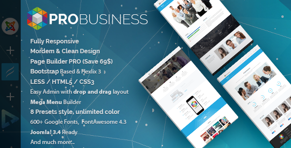 01 preview.  large preview - ProBusiness | Multi-Purpose Joomla Template