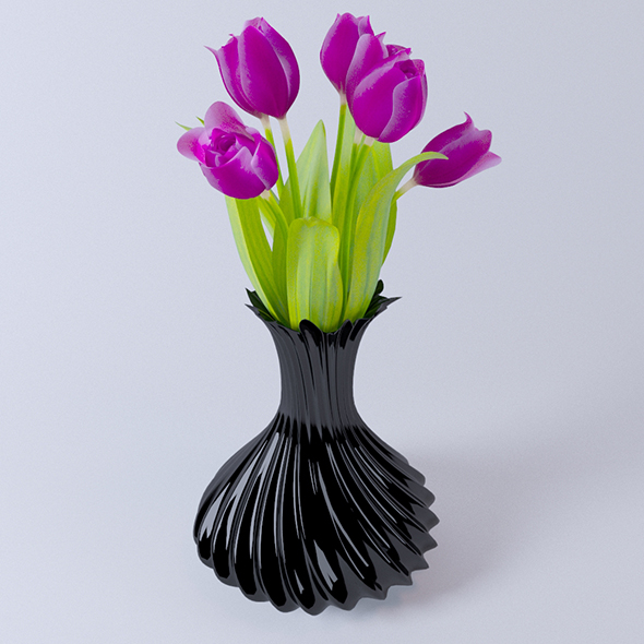 3DOcean Vase with Tulips 19343477