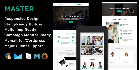 MASTER - Responsive Email Template With Stamp Ready Builder Access