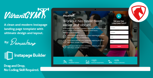 Vibrant GYM - Instapage Landing Page Template