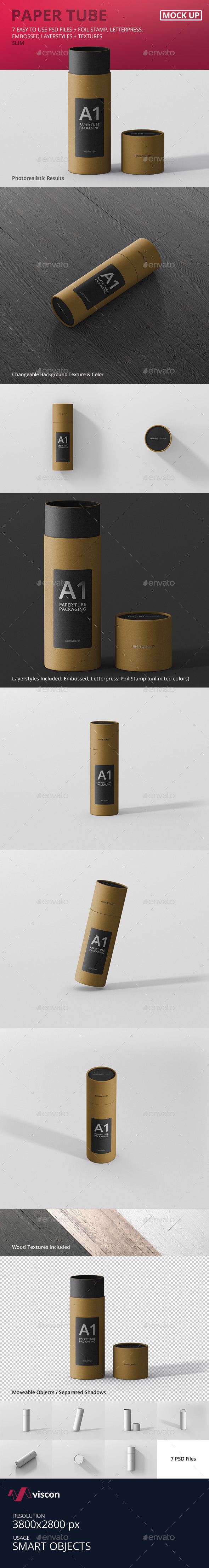 Paper Tube Packaging Mockup - Slim