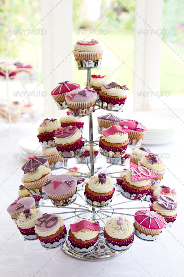 40th birthday cupcakes - Stock Photo - Images