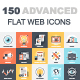 150 Advanced Flat Web Icons Bundle
