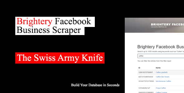 Brightery Facebook Business Scraper + User Accounts Module