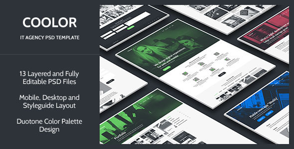 COOLOR — IT Agency PSD Template (Computer software)