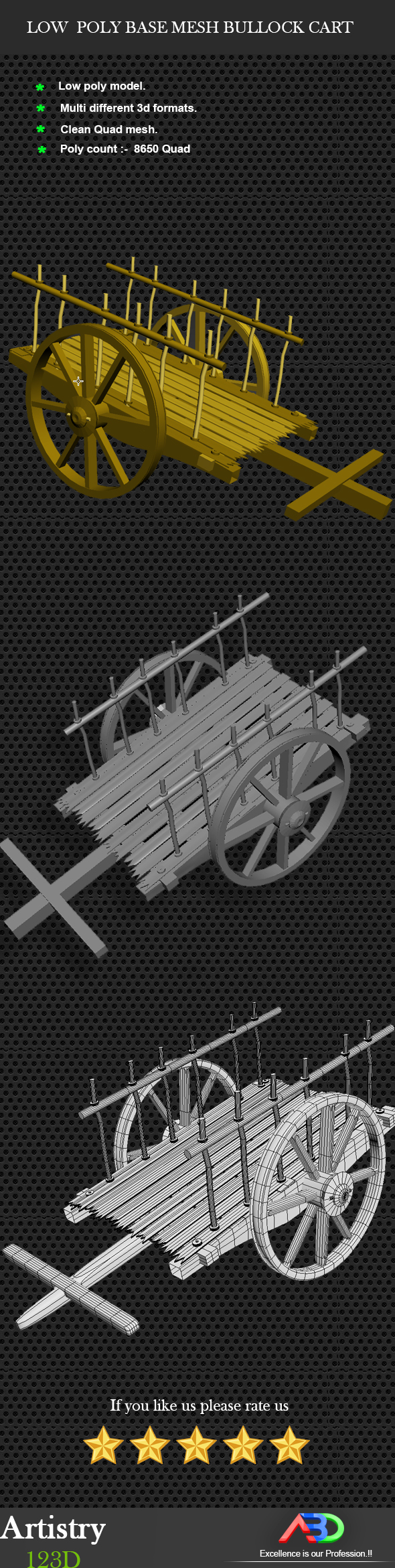 Low Poly Base Mesh Bullock cart (Cow cart) - 3DOcean Item for Sale