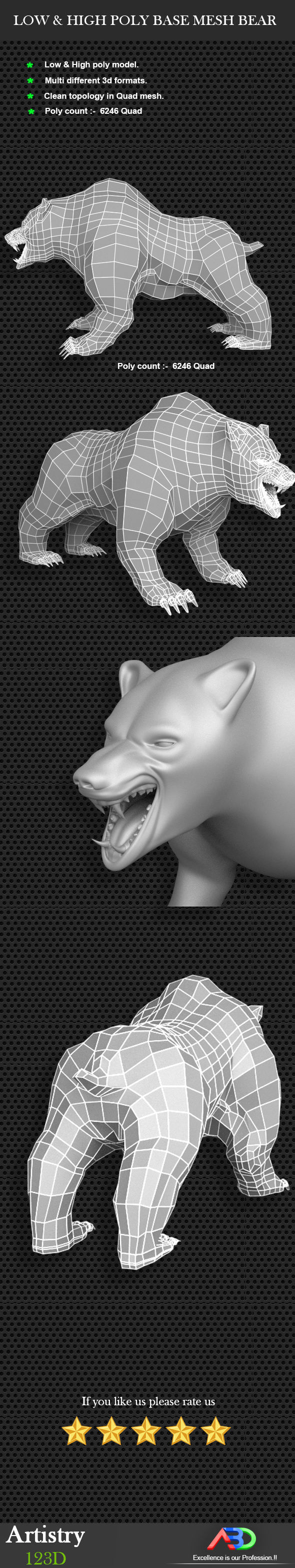 Bear Low & High Poly Base Mesh Bear - 3DOcean Item for Sale