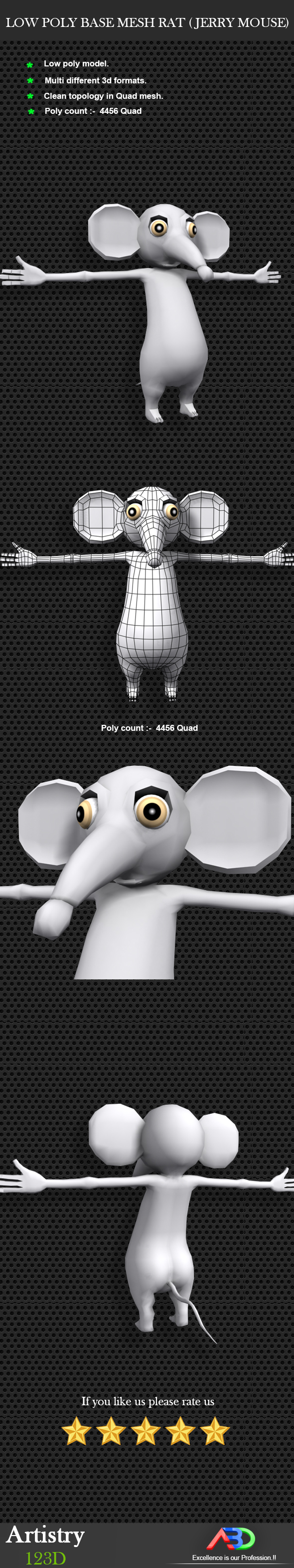 3DOcean Low Poly Base Mesh RAT Jerry mouse 19346790