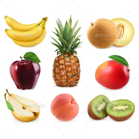 Sweet Fruits 3D Vector Icons Set