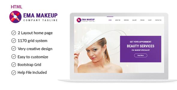 Ema Makeup - One Page Beauty Salon Makeup HTML Template