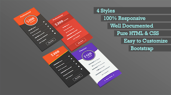 OSTHRIR – Responsive Bootstrap Pricing Table (Pricing Tables) Download