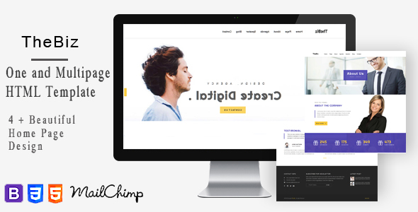 TheBiz-One and Multi Page Responsive Portfolio , Corporate, Business, Creative and Blog Template