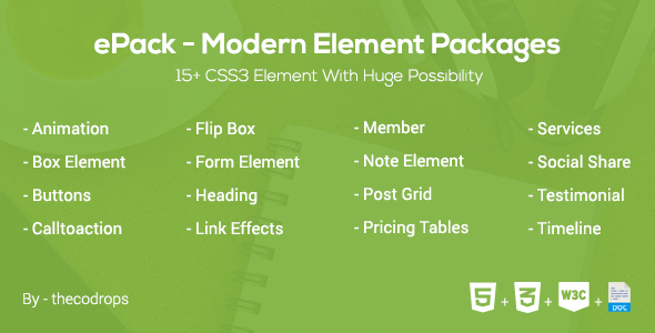 Download ePack -  15+ CSS3 Element Packages