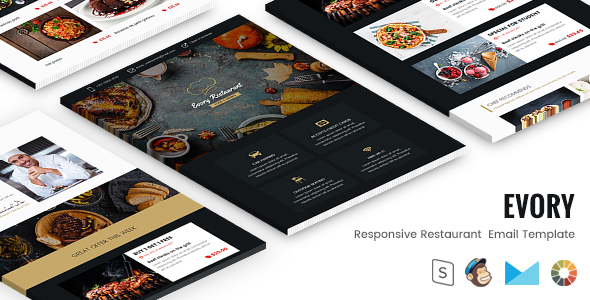 Evory - Responsive Restaurant  Email Template + StampReady Builder