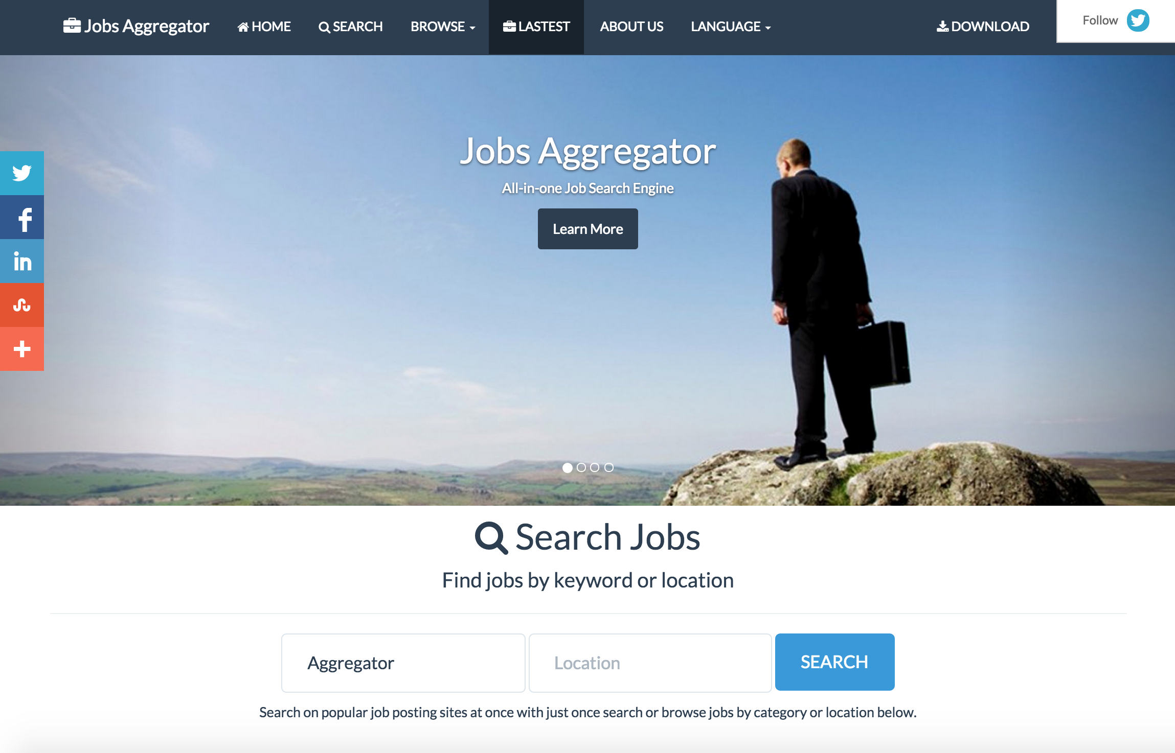 instant job search engine aggregator by vidal codecanyon instant job search engine aggregator item for screenshots screen1 png