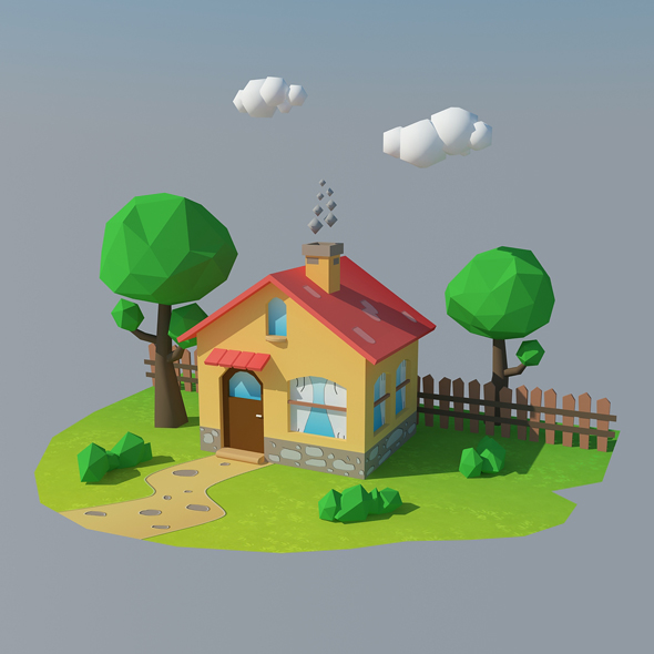 Low Poly House 1 - 3DOcean Item for Sale