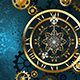 Golden Clock on Turquoise Background
