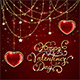 Valentines Lettering and Glittering Hearts on Red Background