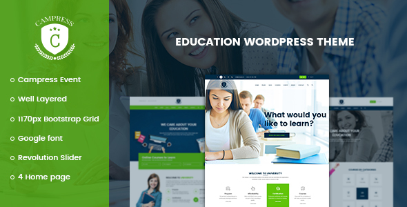 Campress – Responsive Education, Courses and Events WordPress Theme (Education) Download