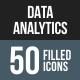 Data Analytics Flat Round Corner Icons