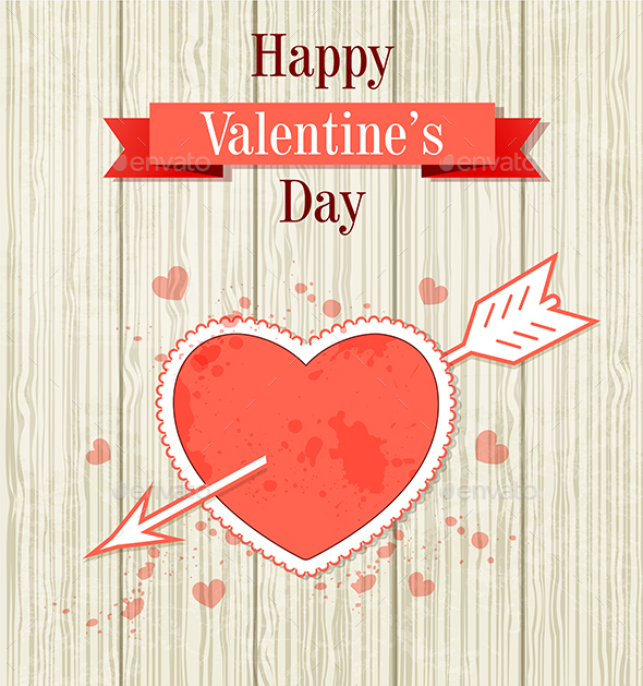 Valentine Card with Red Heart