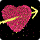 Pink Rose Flower Heart and Arrow Valentine Love Symbol Formation
