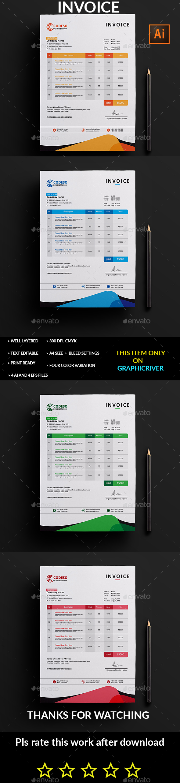 Invoice Sample Excel Invoice Graphics Designs  Templates From Graphicriver Simple Receipt Form Excel with Registered Mail With Return Receipt Pdf  Ez Pass Receipts