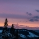 Sunset Sky Over the Dark Forest of Trondheim Fjord, Sweden.