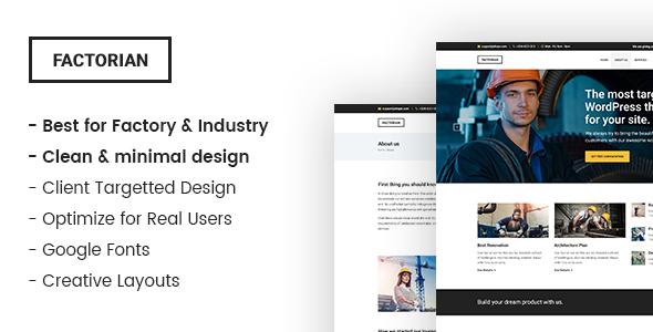 Factorian - Minimal factory & industry HTML Template