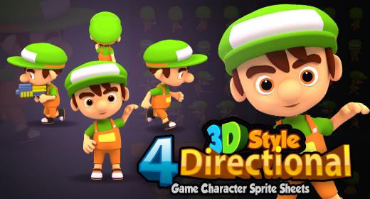 4 Directional 3D Rendered Game Sprites