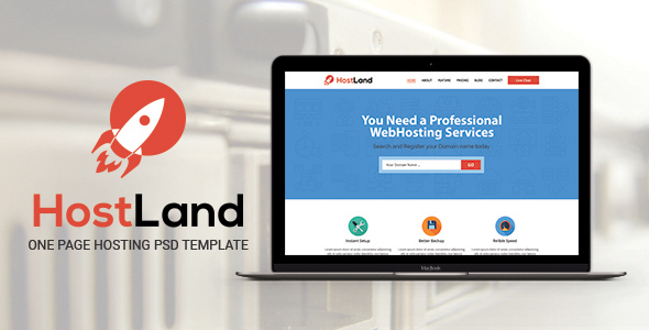 HostLand - One Page Hosting PSD Template