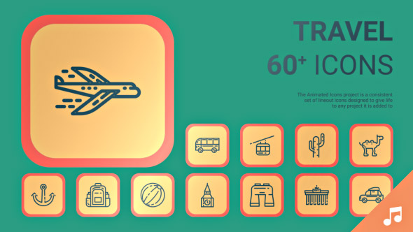 VideoHive Travel and Trip Icons and Elements 19362416