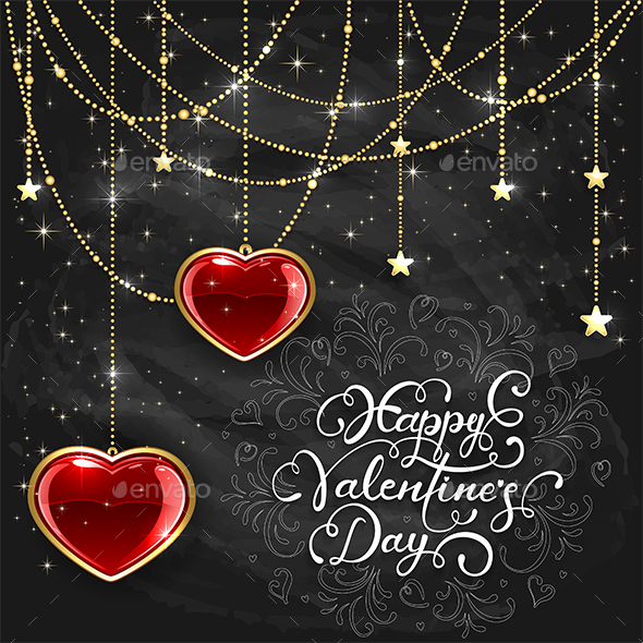 Red Hearts and Valentines Lettering on Black Chalkboard Background