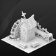 Fantasy game house. Paper fabric.