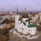 Aerial Shot of Russian City - Voronezh. The Annunciation Cathedral.