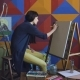 Young Woman Artist Draw Scetch Wit Pencil on Easel Canvas, Preparing To Paint Picture