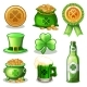 Set of St. Patrick Day Green Icons