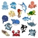 Sea and Ocean Animals Fish Cartoon Icons