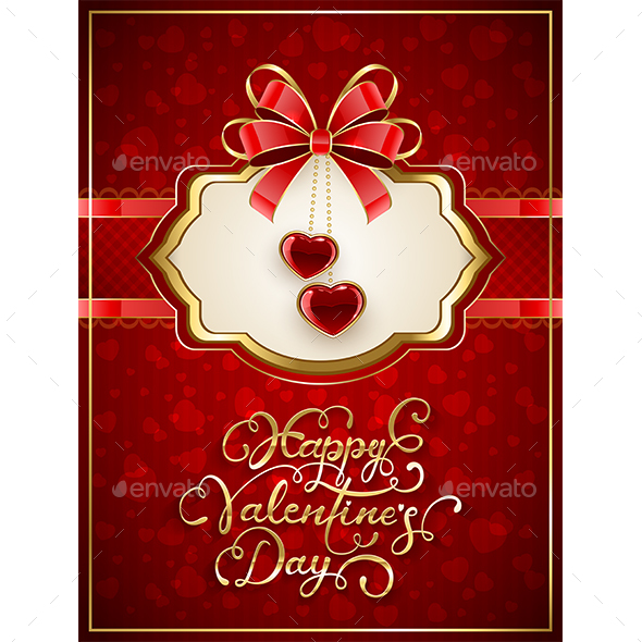 Card with Valentines Hearts and Bow on Red Background