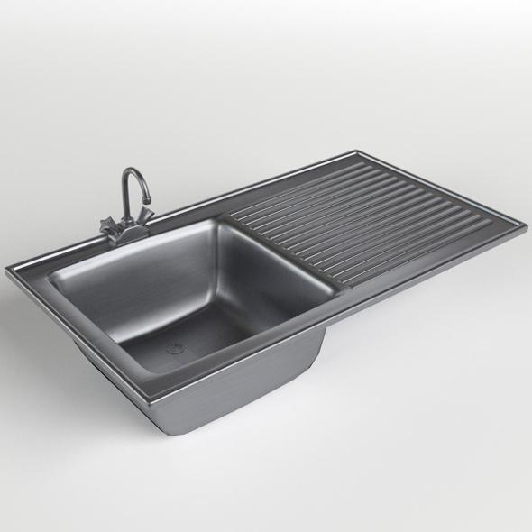 Kitchen Sink with drainboard - 3DOcean Item for Sale