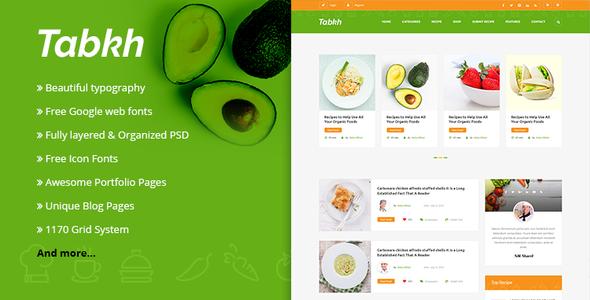 Tabkh – Recipe & Food PSD Template