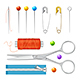 Realistic Sewing Tools Accessories Set. Vector