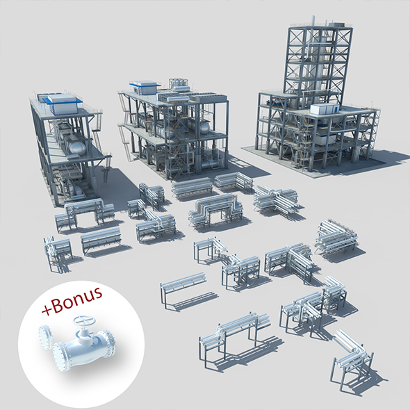 3DOcean Industrial factory environment pipeline 19372957
